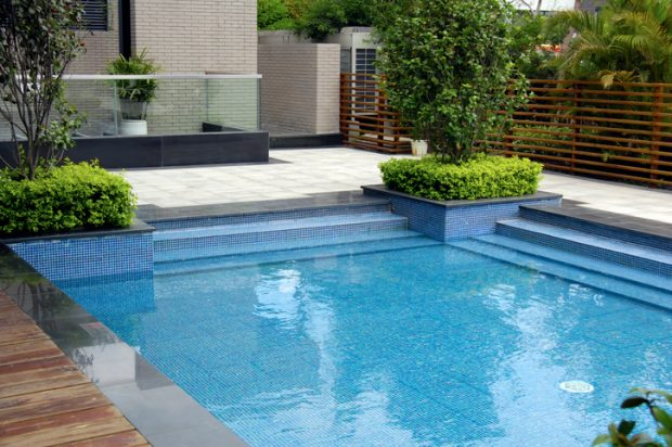 swimming-pool in a backyard